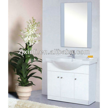 X6313 High Deck Mounted Quality Ceramic Basin PVC Bathroom Vanity Cabinet