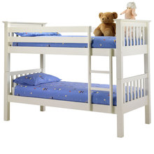 single size white color solid wood kids loft military bunk bed