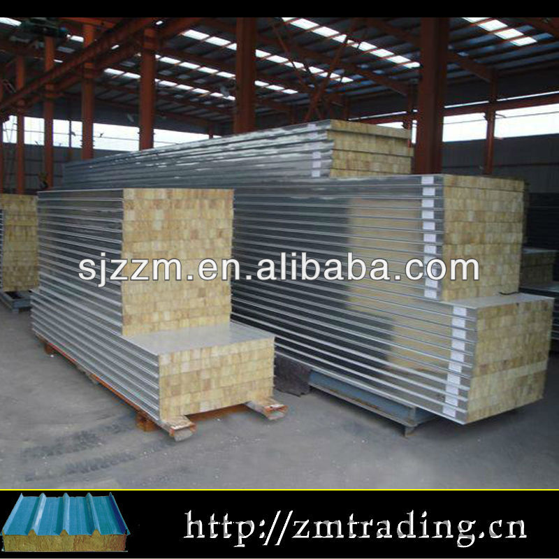 Profile Metal Roof Panels Rockwool Insulated Galvanized