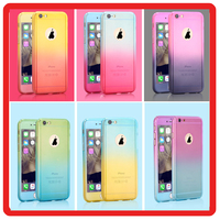 360 Full Coverage Gradient Color Mobile Phone Protective Case with Glass Screen Protector PC Back Cover for iphone 6 6s plus