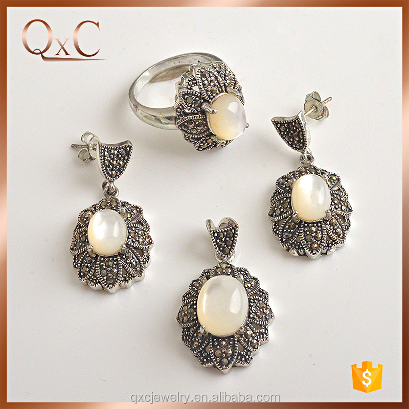 New exclusive design thai silver jewelry sets silver payal jewelry