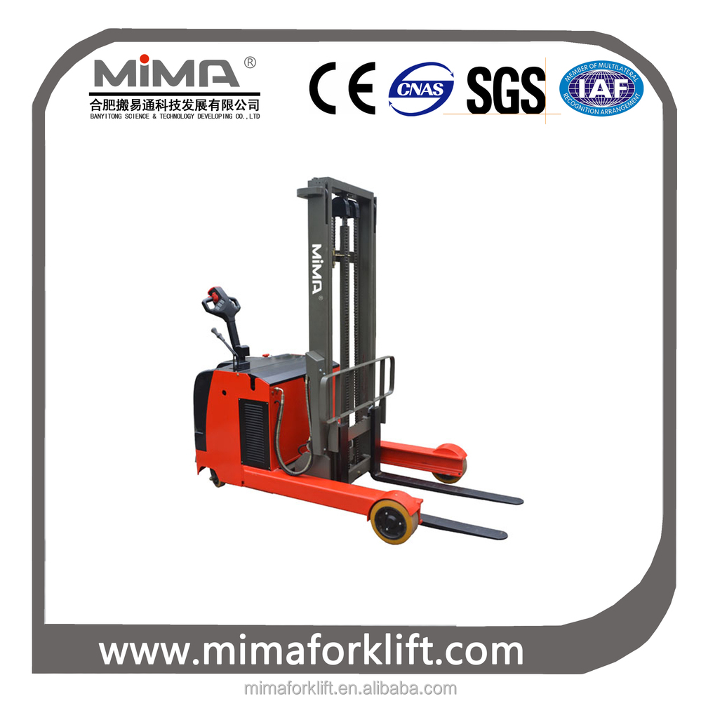 MIMA 1.0T 2.0T Electric Reach Stacker Stand on type Battery operated forklift