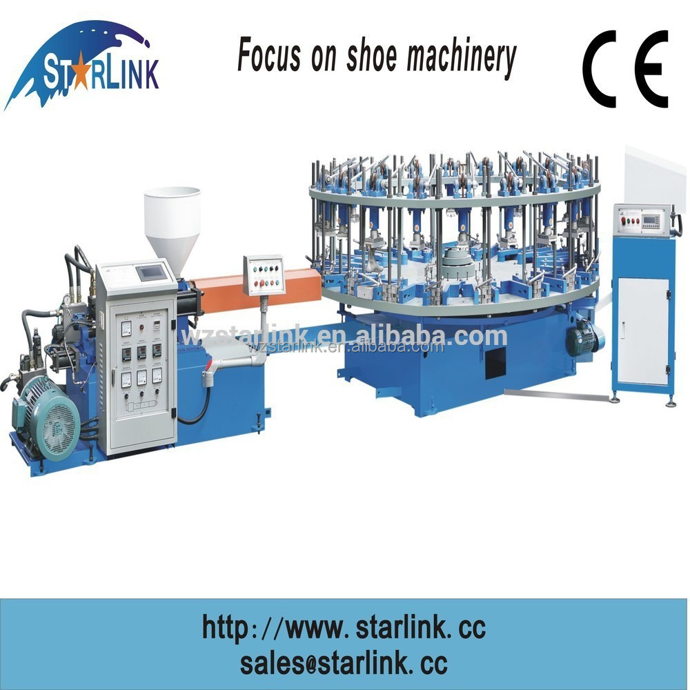 2016 China Wenzhou one color rotary PVC TPR shoe sole making machinery for lady's shoe