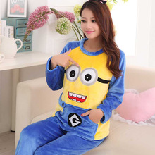 Hot Cartoon Flannel Unisex Adult women Despicable Me Minion anime Onesie Sleepwear Cosplay Halloween Pajamas Costume