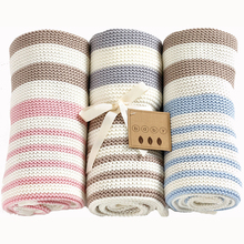 Simple striped knitted kids baby blanket and throws