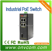 Rail type 4 Ports industrial POE media converter