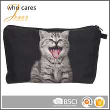Eco material zipper polyester pouch beauty cosmetic bag