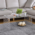 Clear Plastic Coffee Table U Shape Transparent Acrylic rectangular coffee table