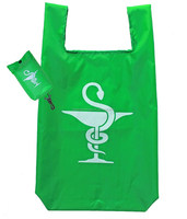 190T Polyester Reusable Folding Shopping Bag With Snap Pouch At Wholesale Prices