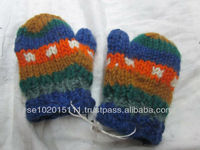 Wool hand knitted baby gloves with fleece lining