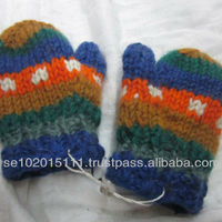 Wool Hand Knitted Baby Gloves With