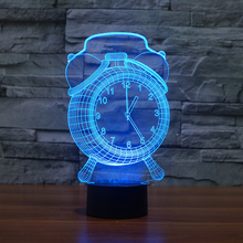 FS-3198 3d effect clock illusion led night light for desk deco visual projector color changing lamp