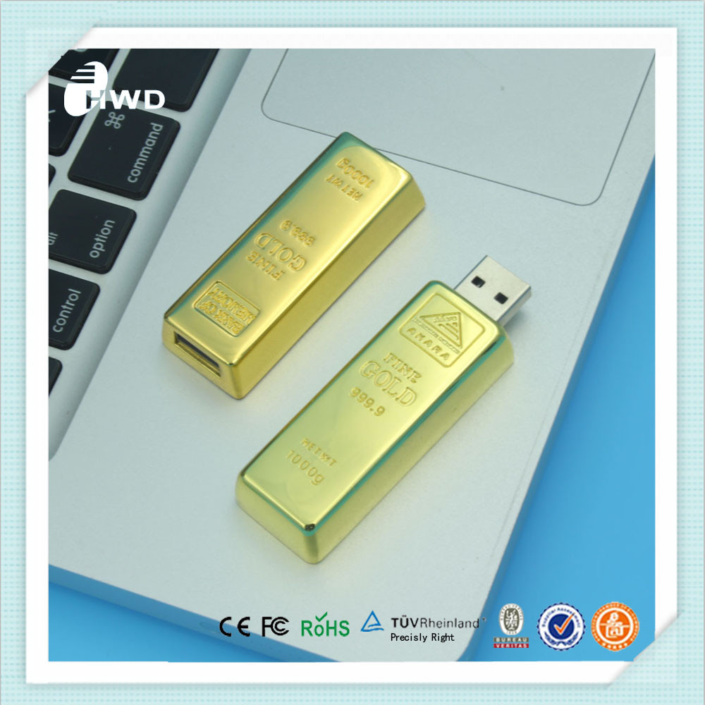 Novelty products 8gb capacity gold bar usb 2.0 flash drive