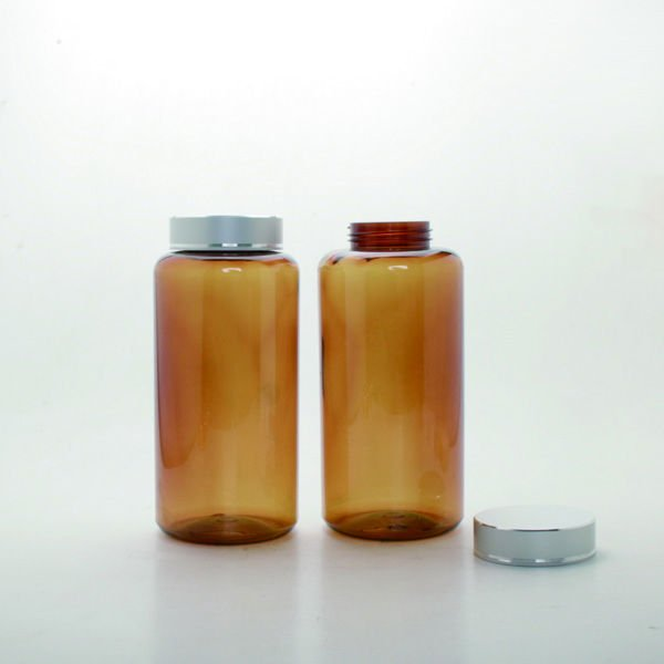 Gold & Silver Cap Medicine Bottle 850ml light Brown