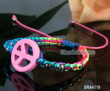Handmade silk rope bracelet with peace sign