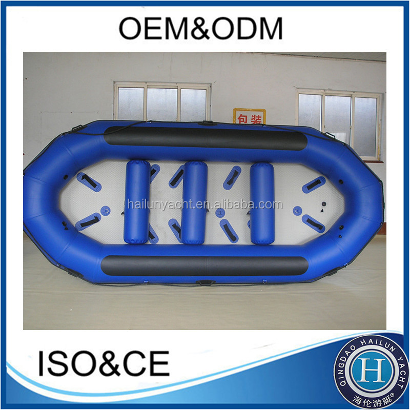 Durable inflatable floating rubber raft and river raft with self-bailing system for sale