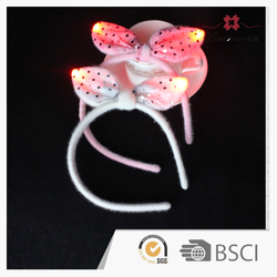 Unique Designs Just Sell in Our Company Fabric Rabbit Ear with colorful LED Lights Hairband for Festival Decoration