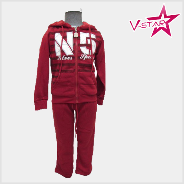 Wholesale custom leopard printing fleece sweatshirt pants kids sweat suits