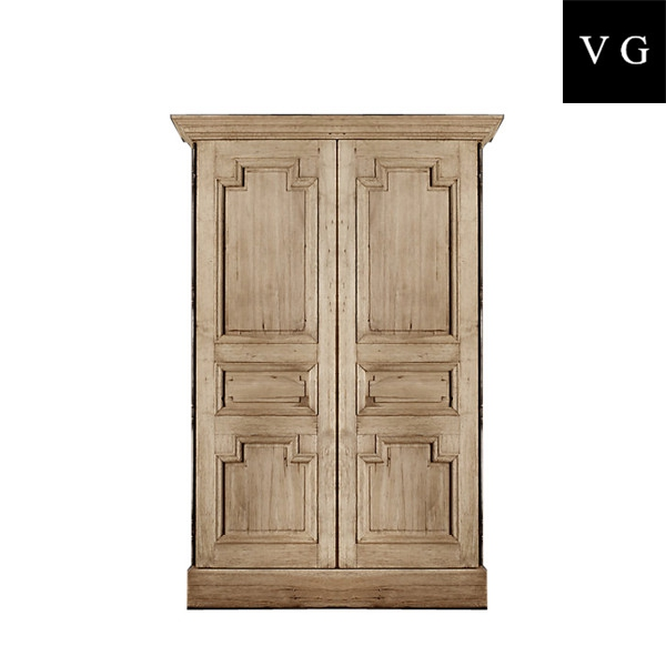 Vintage French country style antique solid design wooden carved wardrobe