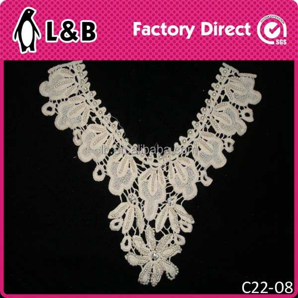 pearl bead lace neck designs collar for ladies suit in high qulaity