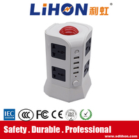 8 way Tower universal outlet 250v ac power extension socket with USB