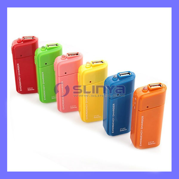 Portable 2 AA Emergency Charger Mobile Phone Dry Battery Charger