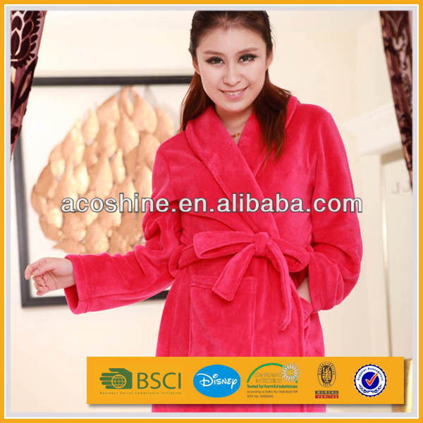 100 polyester cheap women coral fleece robe