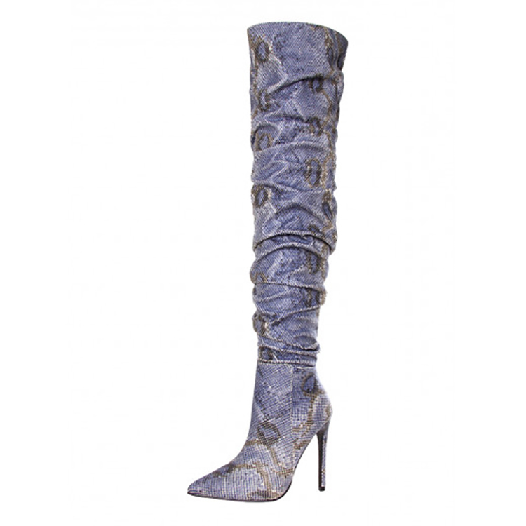 Wholesale China Shoe Factory Lady Shoes High Quality Low Price Snake Leather Sexy High Heel Knee High Long Boots Women