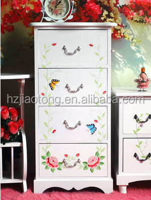 Living room wood cabinet with hand painted flowers