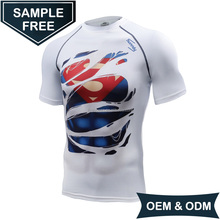 OEM/ODM New Customized Super Hero Mens Quick Dry Fitness Compression Shirt
