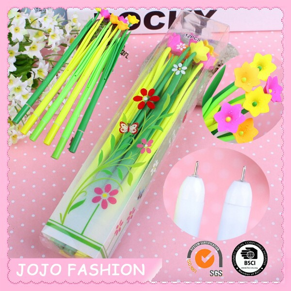 Beautiful flower plastic promotional gift pen for children