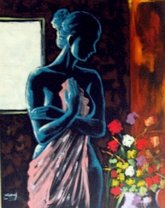 Acrylic On Canvas Lady In Blue 80 X 100 Cm