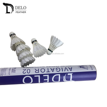 Promotion Badminton Manufacturer White Curved Goose Feather Tournament Shuttlecock Best Cork Badminton