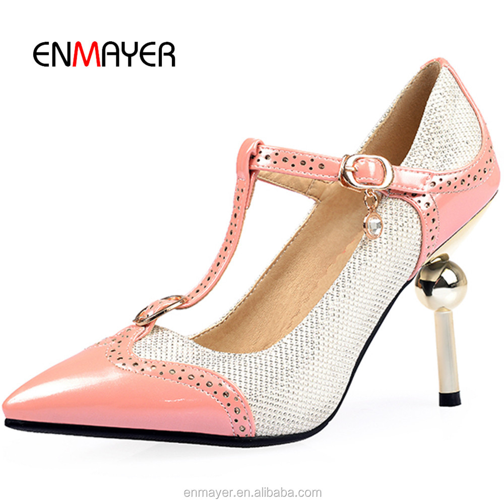 New arrival Italy design sex ladies high heel shoes fashion stitching color pointed toe T-strap pencil heel shoes for women