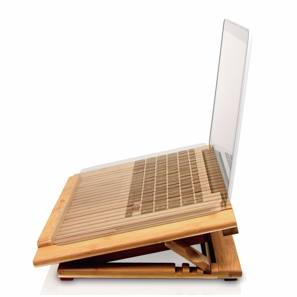 Portable Adjustable manufacture bamboo laptop desk stand