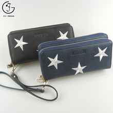 Wholesale Custom Embroidered Women PU Leather Double Zipper Ladies Wallets