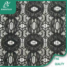 New design 3d black cord knitting eyelet lace