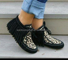 New Arrival Personalized Leather Leopard Tassel Boot