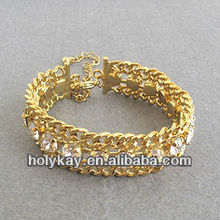 Golden chain and crystal center cuff bracelet,princess series jewelry
