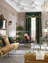 Italian Royal Style Soft Jacquard Window Blackout Curtain, Antique Emerald Embroidery Drape Door Curtain