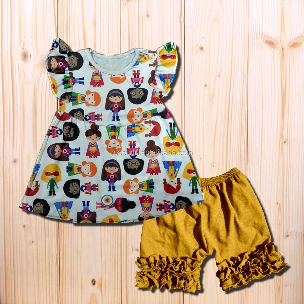 New unique boutique girl sweet style clothing black shorts design with a organic cotton for girls clothes wholesale