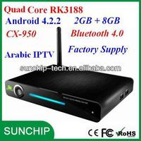 Quad Core Android Arabic IPTV CX-950 with RCA smart TV box