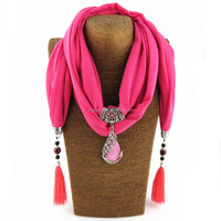 2017 Fashion Women's Long Polyester Scarf Necklace with Beads Pendant and Tassels
