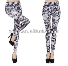 Sexy pictures leather leggings for women skull style leggings LG7005