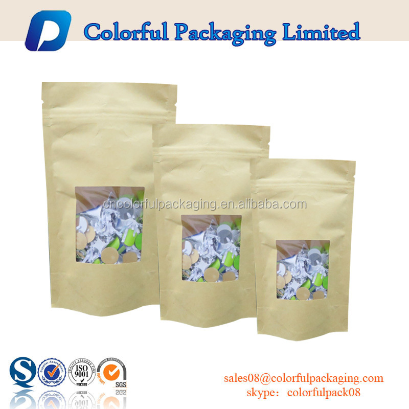 Stand up pouch kraft customized brown paper bags doypack printed kraft paper laminated barrier food