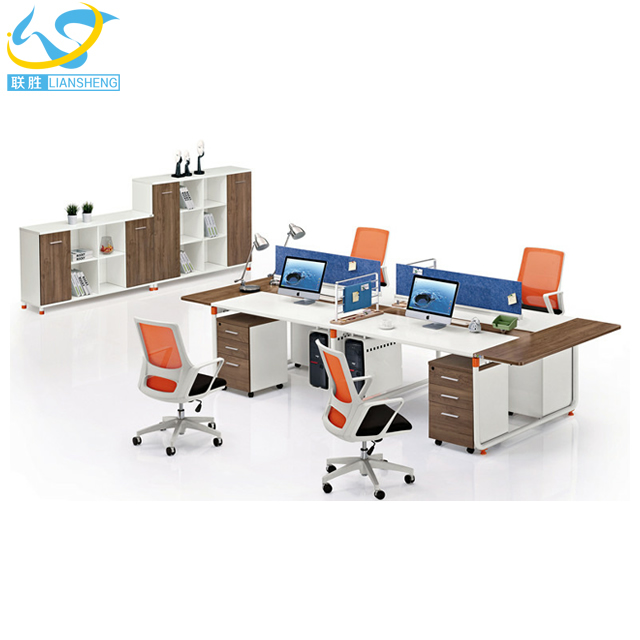Modern office cubicle furniture 4 seat office partition melamine office furniture workstation
