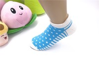 colored round dot and stripes women ankle terry padding cotton socks