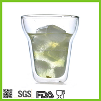 double walled glass ice mugs cups / ice drinking glasses / freezer drinking glass cups mugs