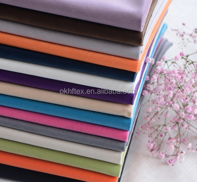 Solid Plain Dye Dull Velvet Cloth Upholstery sofa Fabric