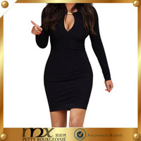 Bodycon long sleeve simple design party dress